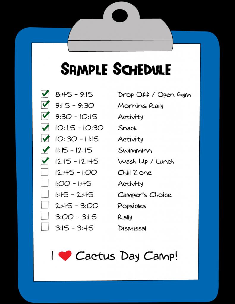 sample camp schedule